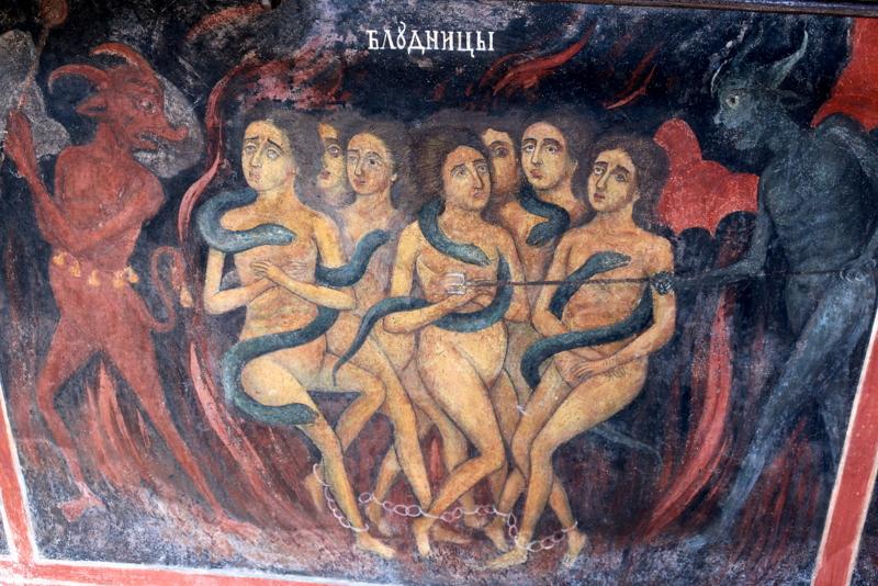 Eine eher seltene Darstellung in den Kirchen, auch wenn sie bei der Bekehrung traditionell eine größere Rolle spielt: das Fegefeuer.