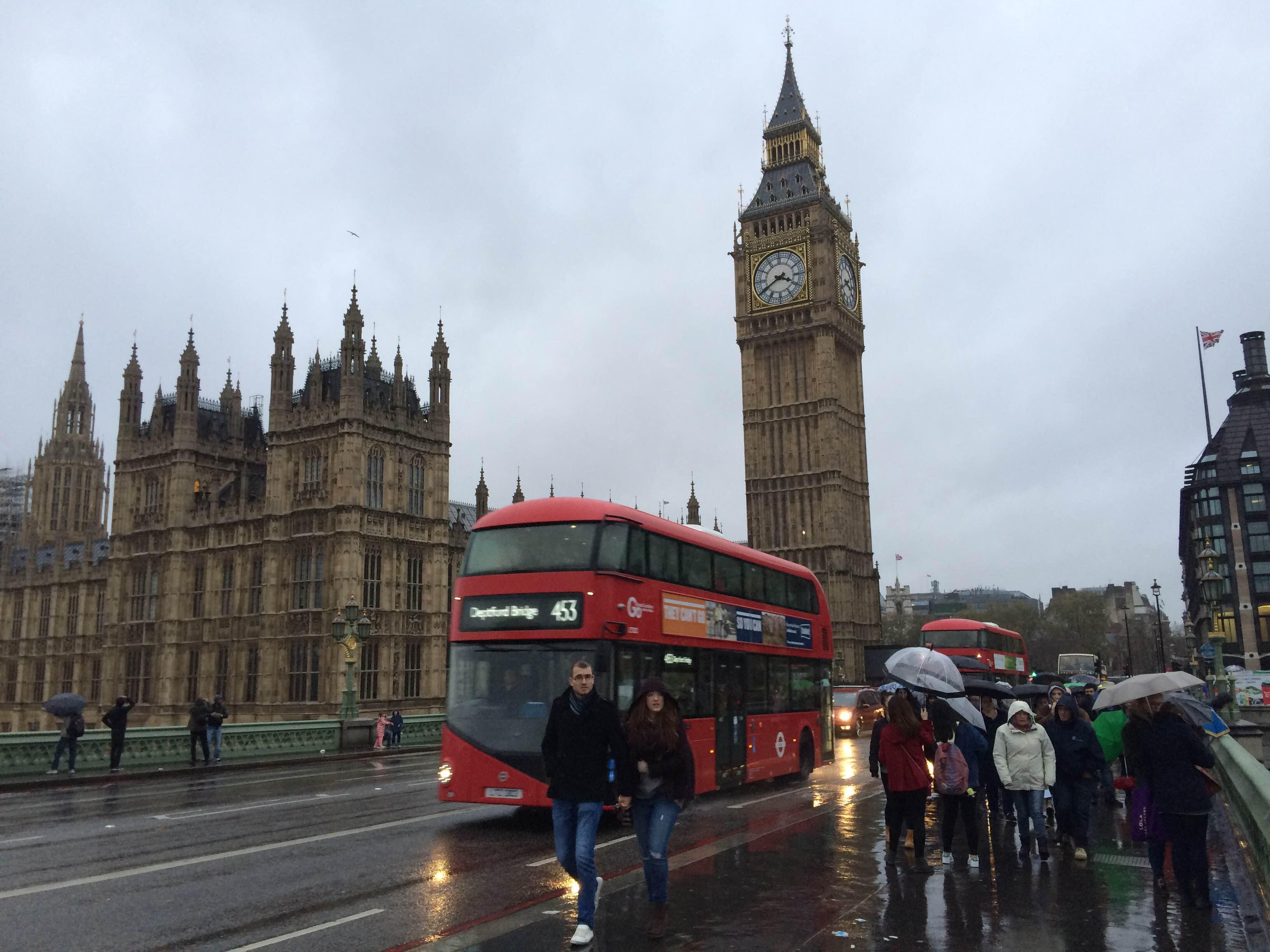 Typisch englisches Wetter in London.
