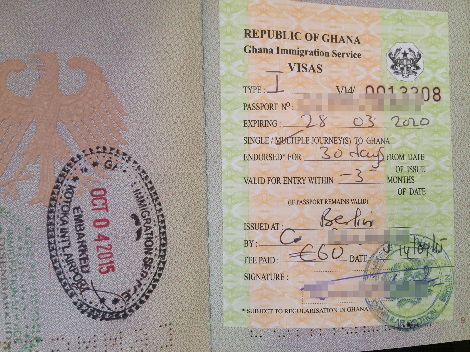Ghana Visum beantragen Visa
