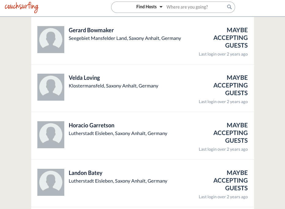 Couchsurfing fake profiles